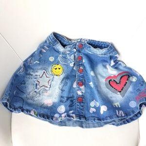 Desigual Girl Jeans Sand Wash Denim Skirt
